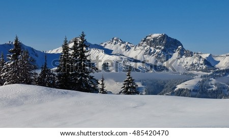 View from Mt Hohe Wispile, Gstaad. Wintry landscape. Snow covered Mt Videmanette. Winter scene in the Swiss Alps.