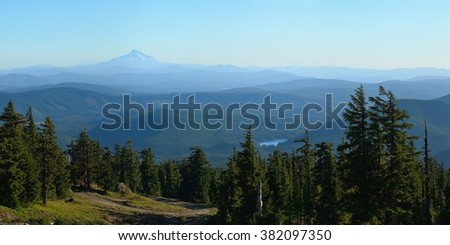 View from Mt. Hood towards Mount Jefferson. USA Pacific Northwest, Oregon. - stock photo