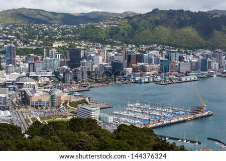 View from Mt Victoria over Wellington, New Zealand - stock photo
