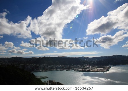 View from Mt Victoria, Wellington, New Zealand - stock photo