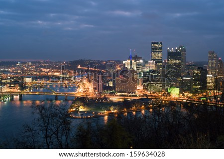 View from mt. Washington on downtown Pittsburgh - stock photo