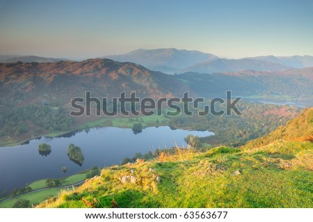 View from Nab Scar over Rydal water towards Wetherlam and Coniston Fells in the English Lake District - stock photo