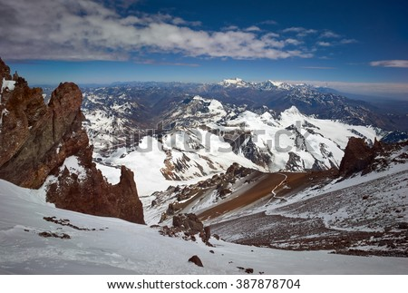View from  of The Traverse from The Cave rest point. Aconcagua Provincial Park, Mendoza, Argentina, South America. - stock photo