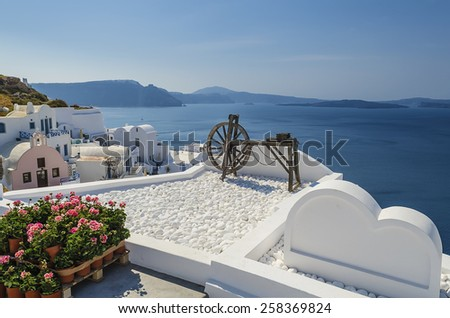 View from Oia and caldera in Santorini island Greece