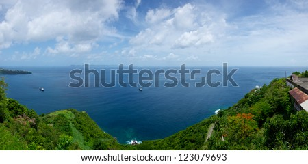 View from old British Fort Charlotte on the island of St. Vincent in the Caribbean Sea.