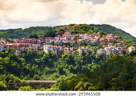 View from old town of Veliko Tarnovo, Bulgaria. - stock photo