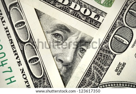 View from one hundred dollar bills - stock photo