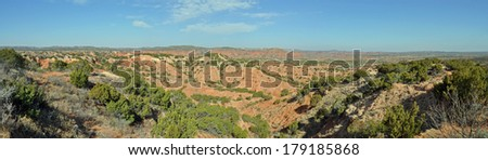 View from overlook in Caprock Canyons State Park, Texas - stock photo
