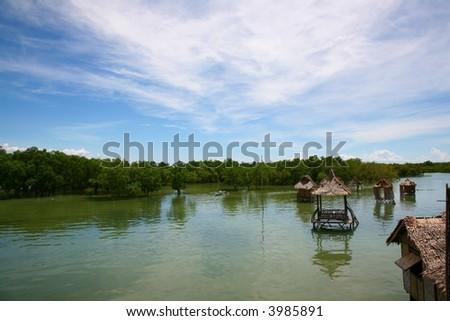 view from pacific island cebu - stock photo