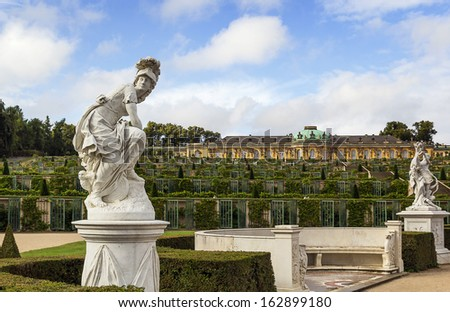 view from park to Sanssouci Palace and the terrace vineyards, Potsdam, Germany - stock photo