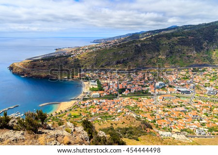 View from Pico do Facho viewpoint over the Machico valley, Airport in the background, Madeira, Portugal