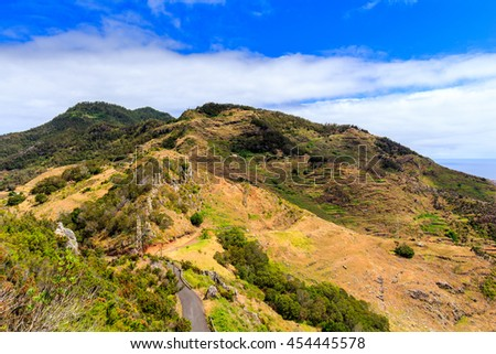 View from Pico do Facho viewpoint over the Machico valley, Madeira, Portugal - stock photo