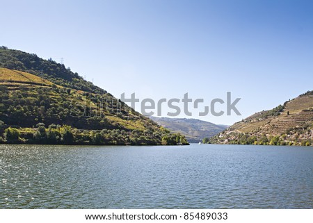 View from  Pinhao vilage in Portugal to Douro valey - stock photo