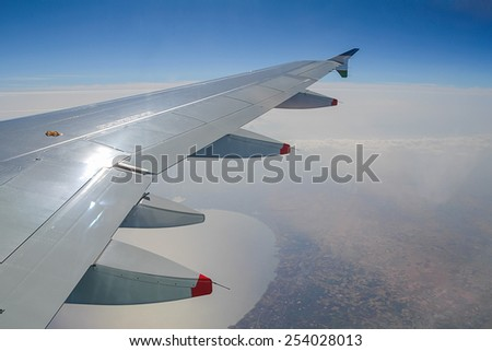 View from plane on Caspian sea