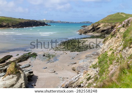 View From Porth to Newquay - stock photo