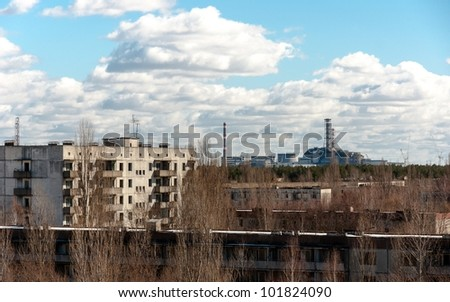 View from pripyat hotel with nuclear power plant - stock photo