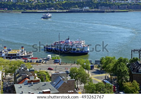 View from Quebec City Upper Town (Haut Ville) of car ferries at work on the Saint Lawrence River