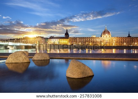 View from Rhone river in Lyon city at sunset, France. - stock photo