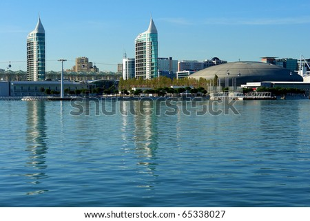 View from river Tagus of Lisbon's Nations park, Portugal - stock photo