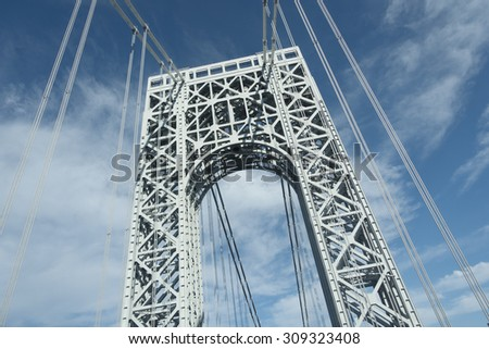 view from road below George Washington Bridge tower - stock photo