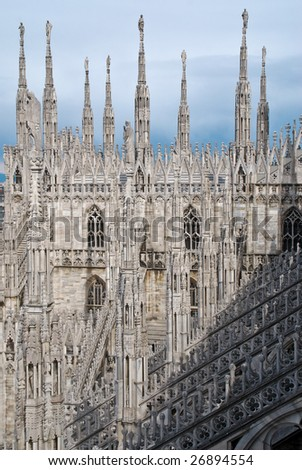 View from roof top af Milan Cathedral. Milan Cathedral is the gothic cathedral church of Milan in Lombardy, northern Italy.