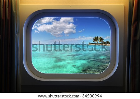View from room of cruise ship window - stock photo