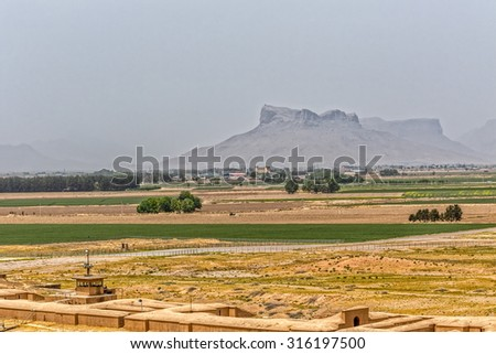 View from ruins of old city Persepolis, landscape.