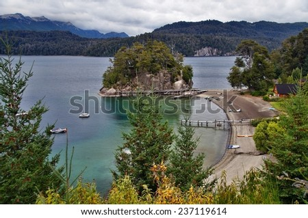 View from Ruta de los siete lagos (Road of the Seven Lakes), Argentina - stock photo