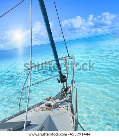 View from sailing yacht. - stock photo