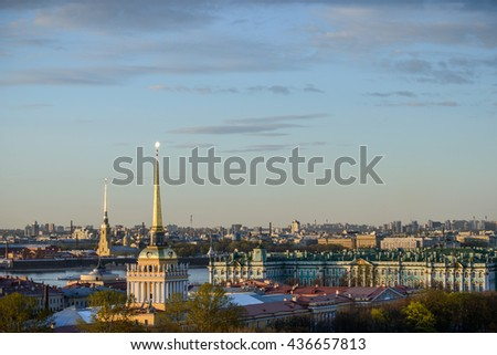 View from Saint Isaac's Cathedral Colonnade in St. Petersburg, Russia