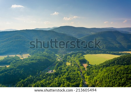 View from Seneca Rocks, Monongahela National Forest, West Virginia. - stock photo