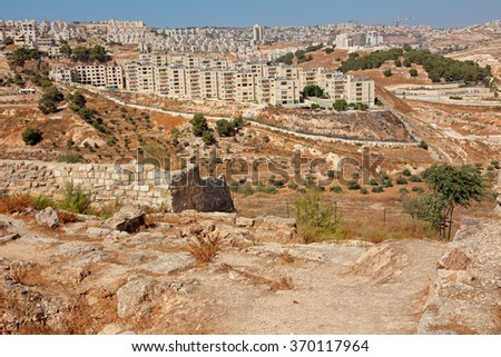View from Shepherds Field of the Palestinian town of Beit Sahour, Israel - stock photo