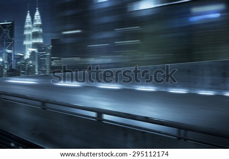 View from Side of flyover,blurred motion - stock photo