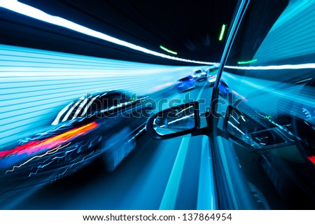View from Side of high-speed car in the tunnel, Motion Blur - stock photo