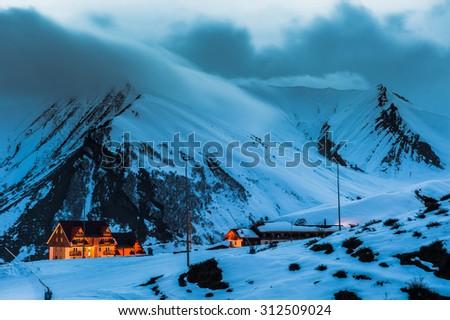 View from ski resort Gudauri in Georia - stock photo