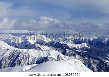 View from ski slopes. Caucasus Mountains, Georgia, Gudauri. - stock photo