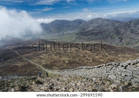 view from Slieve Donard, the highest hill of Northern Ireland - stock photo