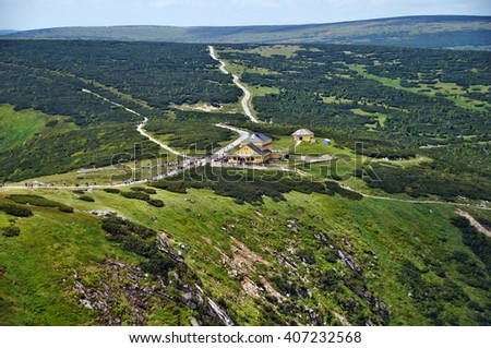 "View from Sniezka of Mountain Shelter ""Dom Slaski"", Karkonosze, Poland"