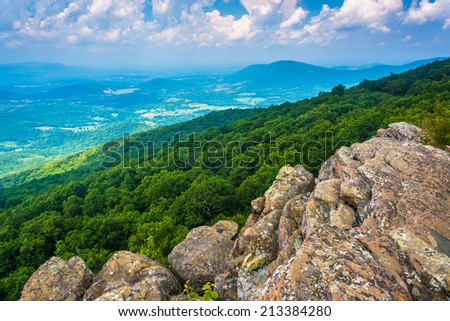 View from South Marshall, along the Appalachian Trail in Shenandoah National Park, Virginia. - stock photo