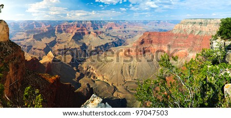 View from south rim over the Grand Canyon. - stock photo