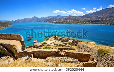 View from Spinalonga Island Fortress. Crete, Greece.