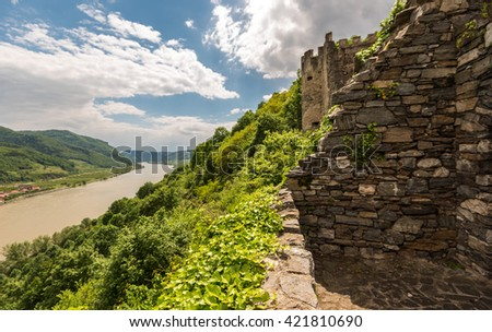 View from Spitz castle in Wachau valley, World Heritage Site (UNESCO) - stock photo