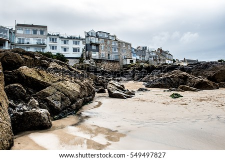 View from St Ives beach, Cornwall UK