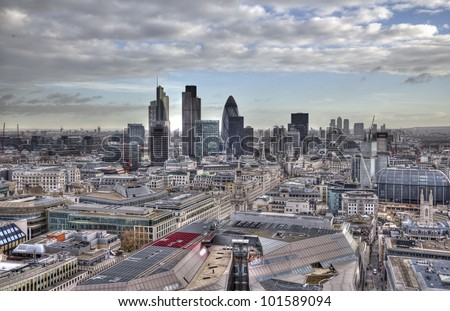 View from St. Pauls Cathedral in London, UK - stock photo