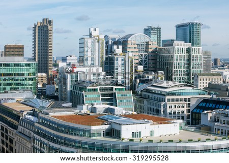 View from St Pauls Cathedral to City of London - stock photo