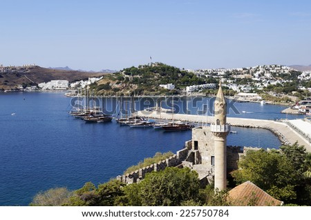 View from St Peter's castle in Bodrum, Turkey - stock photo