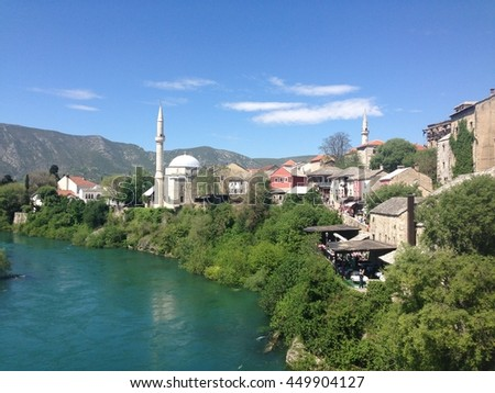 View from Stari Most (Old Bridge) over the Neretva in Bosnia & Herzegovina