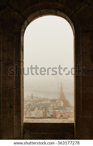 View from stoned loophole, Budapest - stock photo