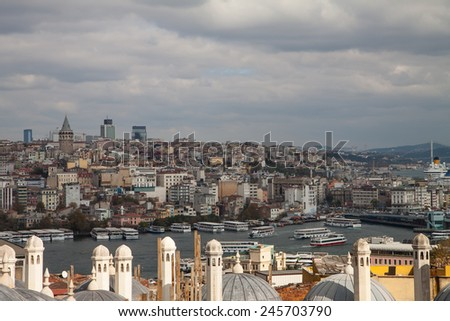 view from Suleymaniye mosque to Bosphorus,  Istanbul, Turkey