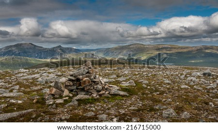 View from summit Cairn looking towards the Beinn Dearg hills in Scottish Highlands